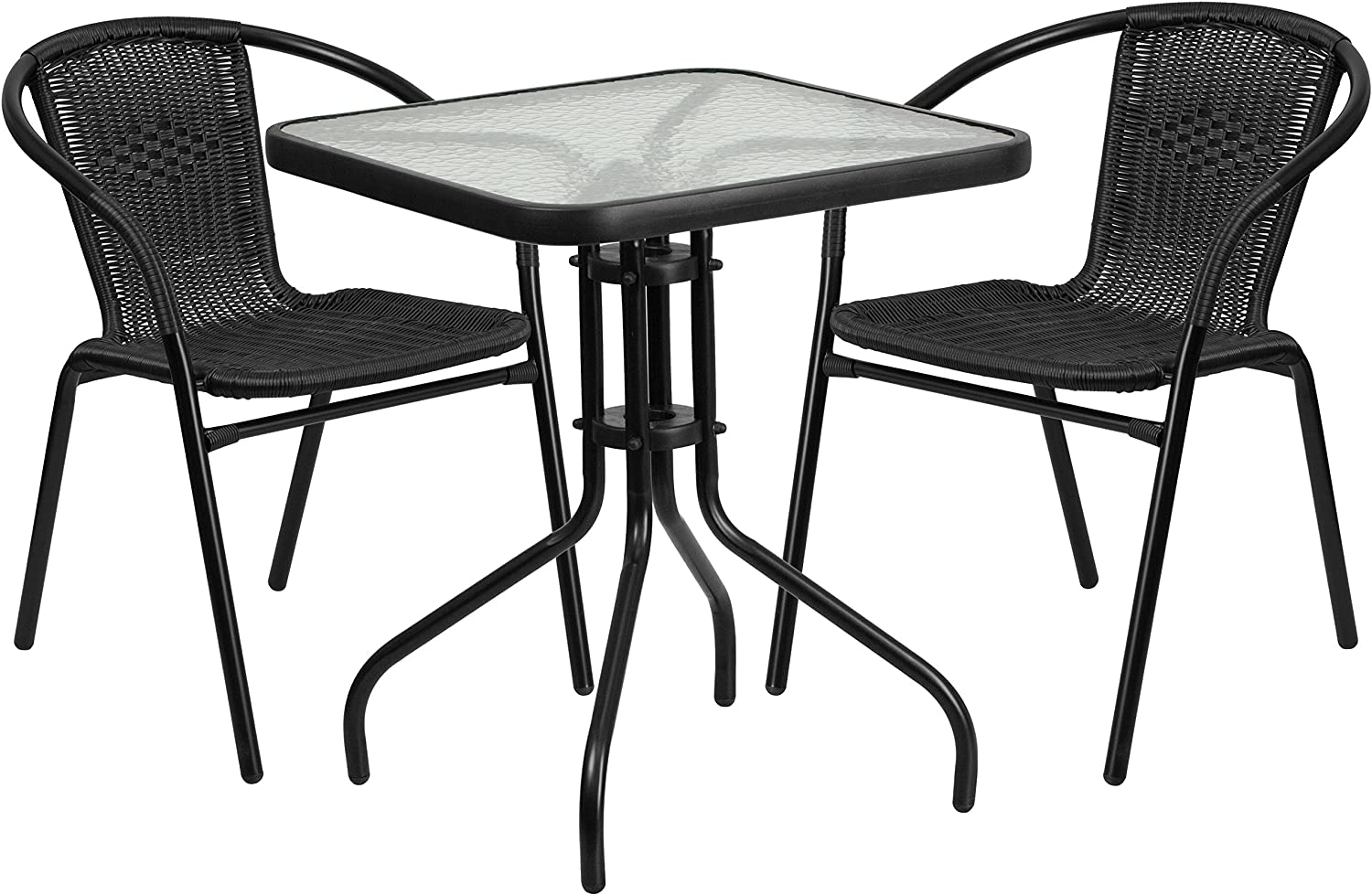 Flash Furniture 23.5 Square Glass Metal Table with 2 Black Rattan Stack Chairs