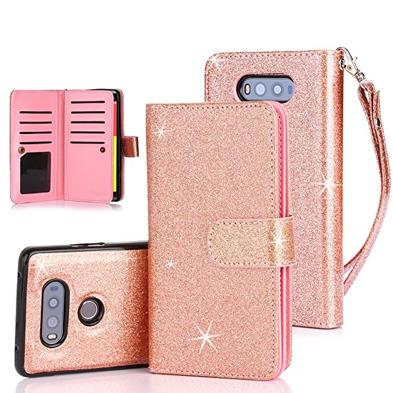 premium selection bb16b d66f9 LG V20 Case, TabPow 10 Card Slot - [ID Slot] Wallet Folio PU Leather Case  Cover with Detachable Magnetic Hard Case for LG V20 - Glitter Rose Gold