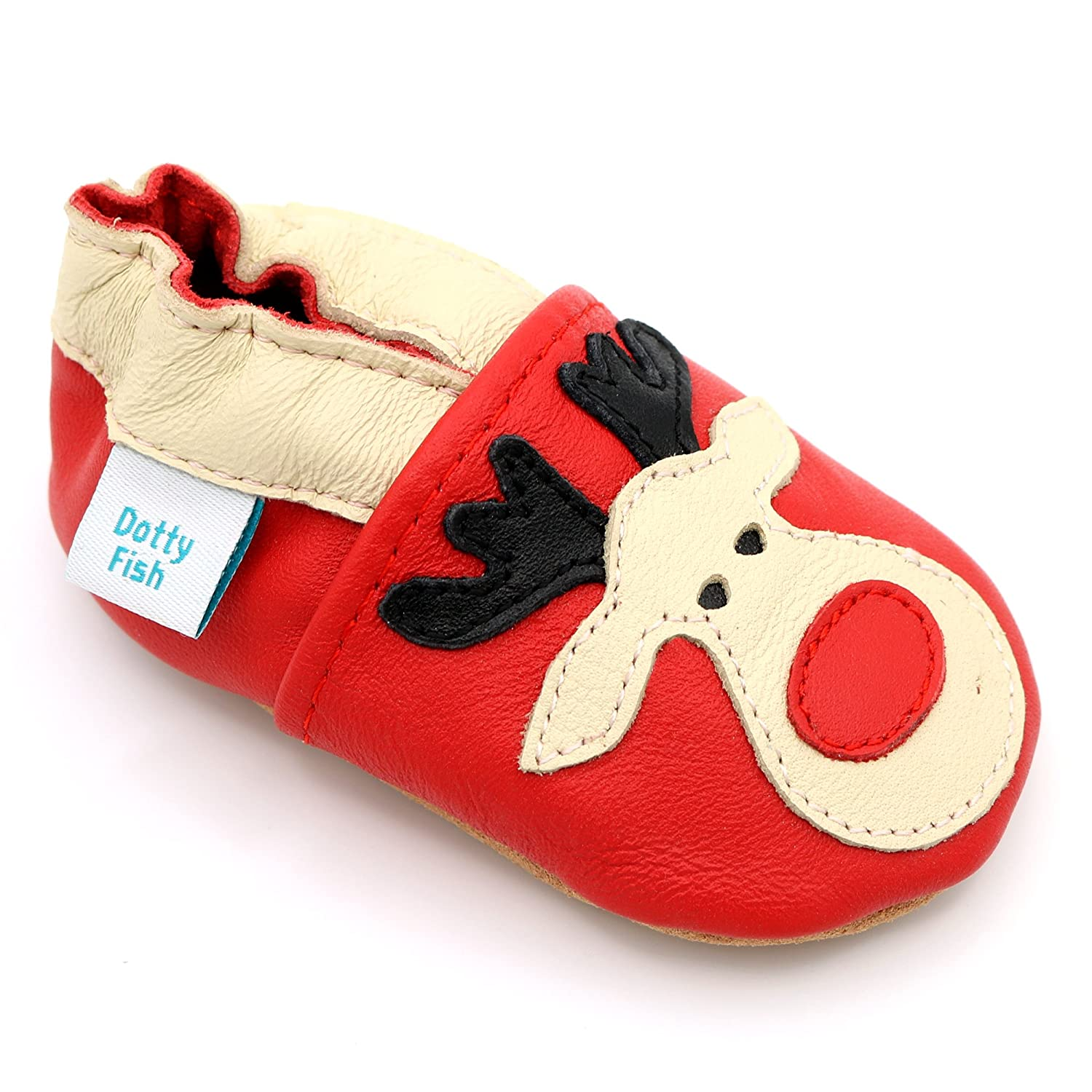 Dotty Fish Soft Leather Baby Shoes. Toddler Shoes. Boys Girls. Non-Slip Suede Soles. Christmas Winter Designs. 0-6 to 3-4 Years FBA-RUDOLPH-P
