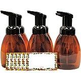 ljdeals Foaming Soap Dispensers, 250ml Amber Foam Pump Bottles, Pack of 6, BPA Free, Made in USA, Bonus 6 Labels