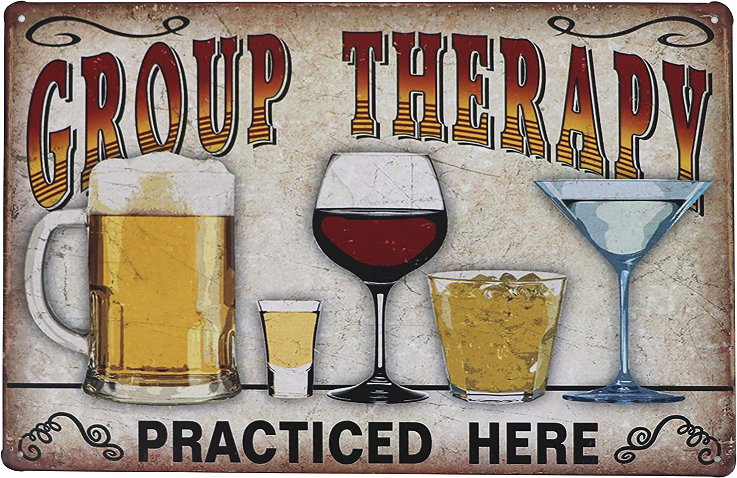 Vintage Metal Tin Sign Wall Plaque - Retro Coffee Shop Bar Club Pub Decoration Poster Art Personality Modern Garage Kitchen Dining Room Home Decor Group Therapy Practiced Here 8x12 inch Plate Tin