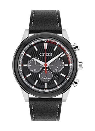 citizen watch men s solar powered black dial analogue display citizen watch men s solar powered black dial analogue display and black leather strap ca4348