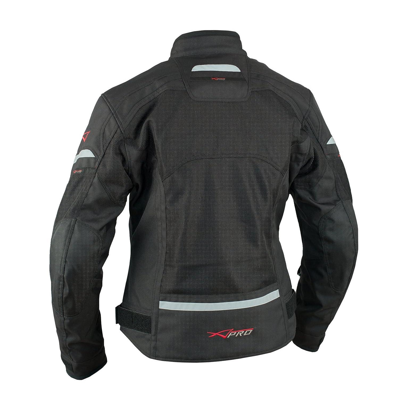 Donna Giacca Moto Tessuto Impermeabile Traspirante Riflettente Fluo S