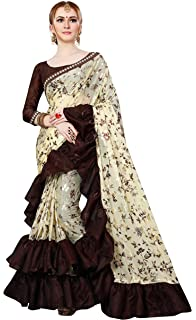 fb5de651fe4508 Magneitta Women s Imported Fabric Frill Ruffle Saree (1130 Manikarnika   Multicolour)