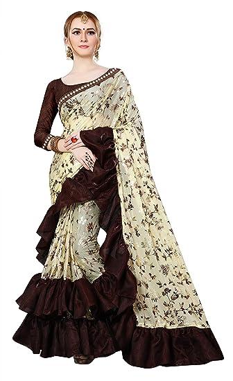 a764ef9fd314f9 Magneitta Women s Imported Fabric Frill Ruffle Saree (1130 Manikarnika   Multicolour)  Amazon.in  Clothing   Accessories