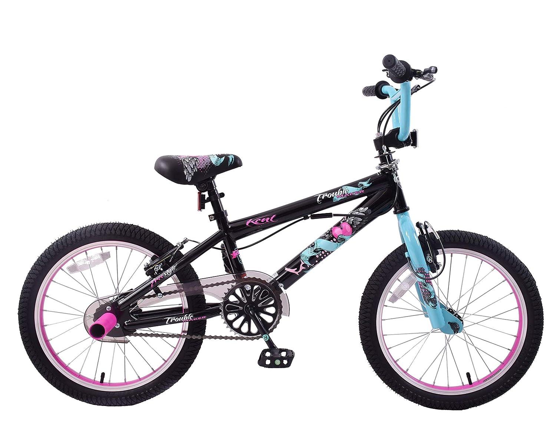 Kent Trouble Maker 18 Wheel BMX Bike Girls 360 Gyro Rotor Stunt Pegs Black/Pink Age 6+