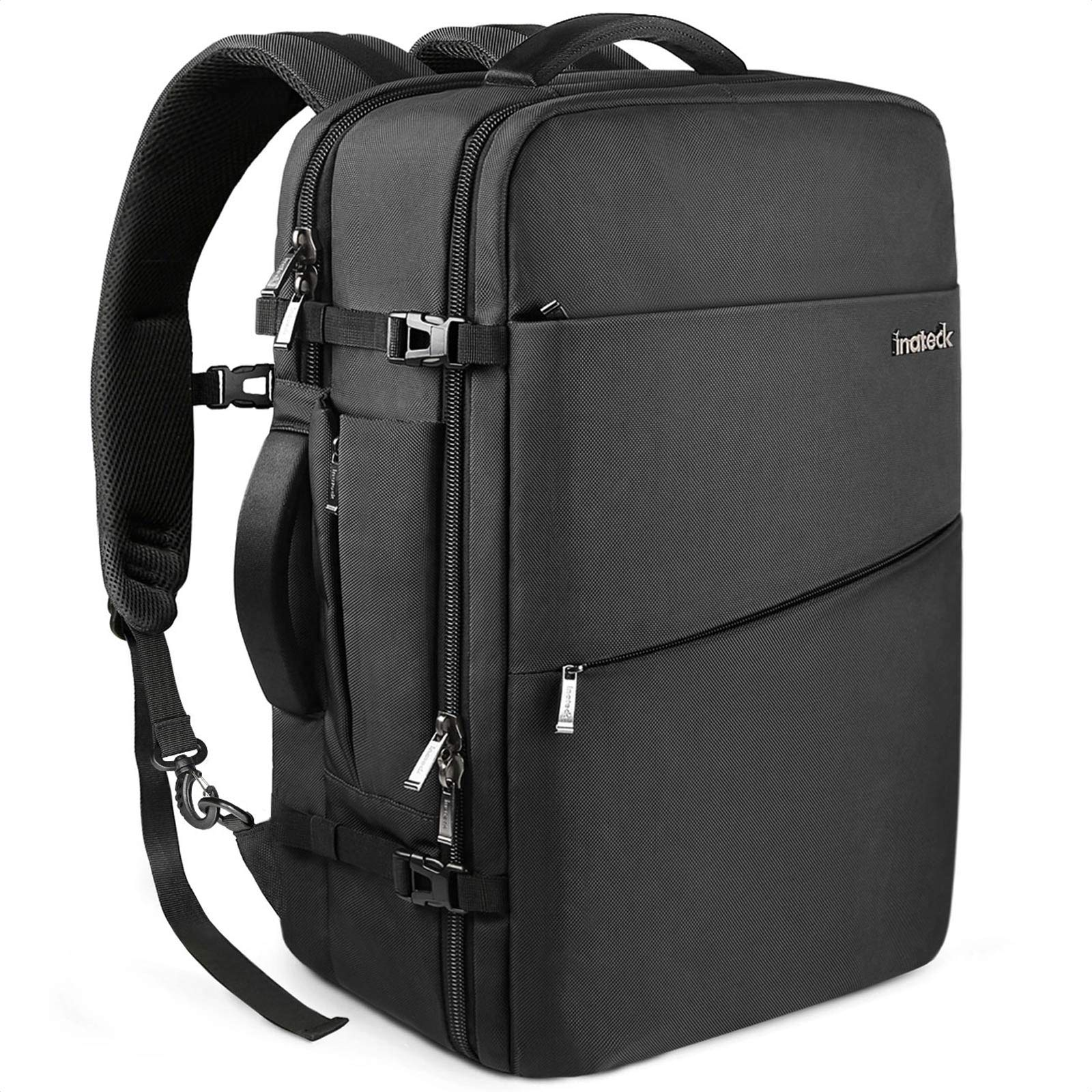 Inateck Travel Carry On Business Luggage Backpack, Anti-theft Rucksack 30L Flight Approved Bag with Rain Cover Fits 15.6'' Laptop for Men Women, Black