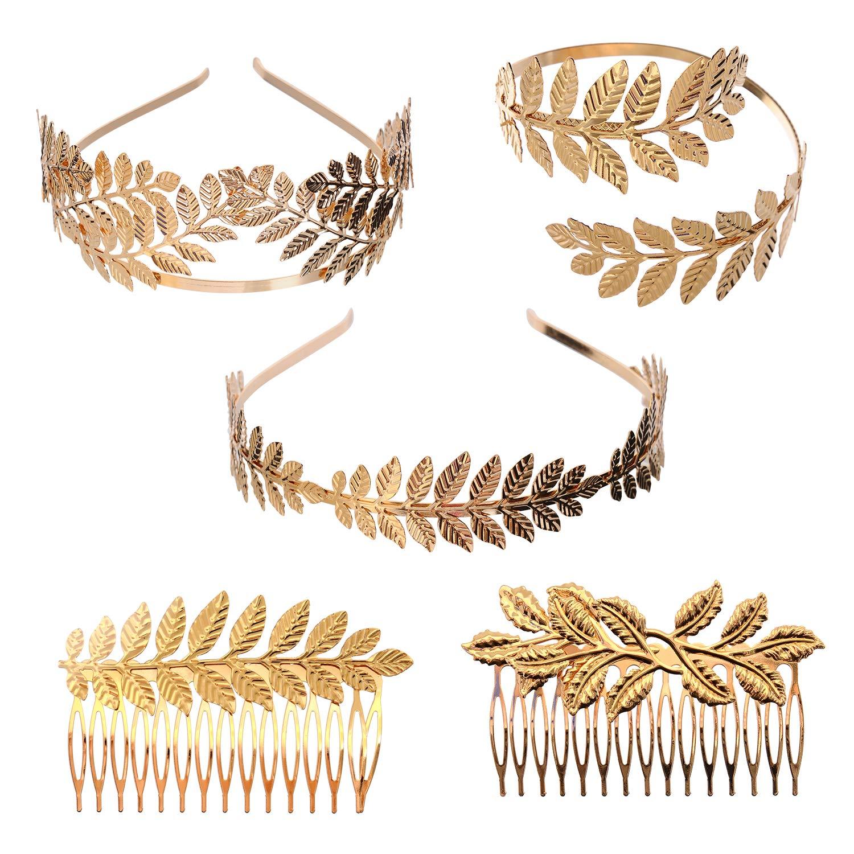 YallFF 5 Pieces Greek Roman Laurel Leaf Bracelet Armband Golden Laurel Leaves Crown Tiara Costume Greek Goddess Headband Hair Comb Bridal Wedding Headpiece Hair Accessories by YallFF