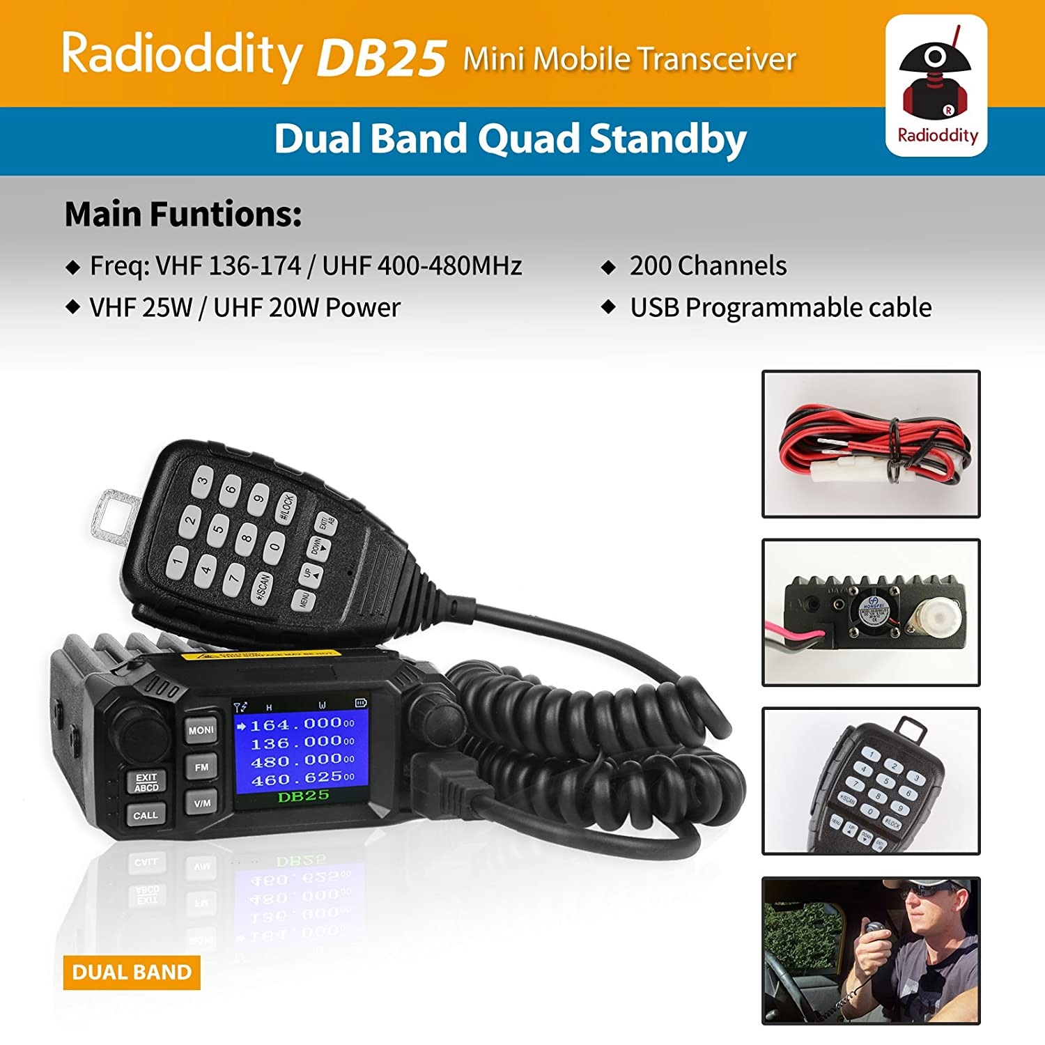 Radioddity DB25 Dual Band Quad-Standby Mini Mobile Car Truck Radio VHF UHF 25W//10W Car Transceiver with Programming Cable Support Chirp