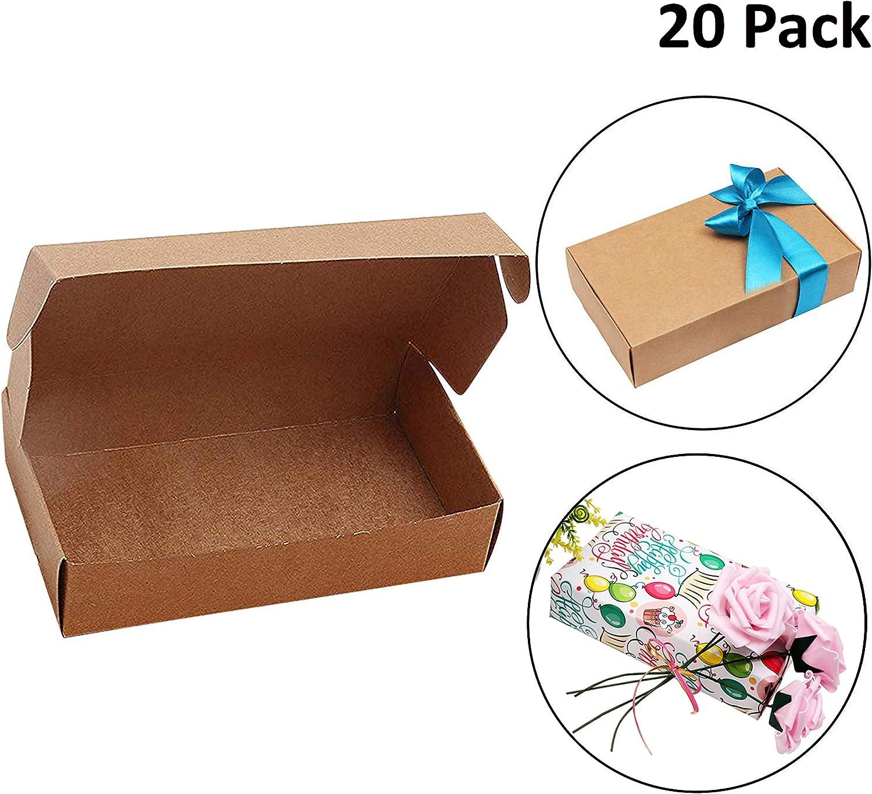 Cajas de Cartón Kraft para Regalos (Pack de 20) - Caja de Regalo (19cm de Largo x 11 de Ancho x 4,5cm de Grosor) Empaque Plano Automontable Apto para Fiesta, Boda, Galletas, Dulces y Joyas
