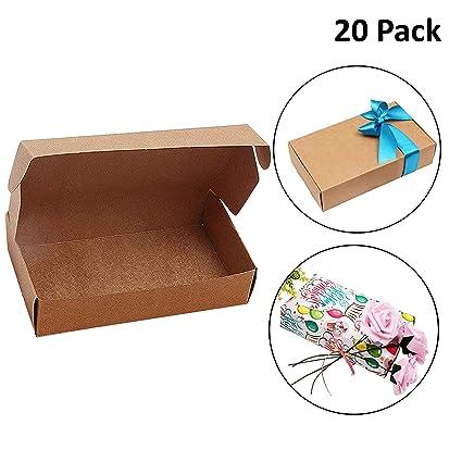 Cajas de Cartón Kraft para Regalos (Pack de 20) - Caja de Regalo (19cm de Largo x 11 de Ancho x 4,5cm de Grosor) Empaque Plano Automontable Apto para ...