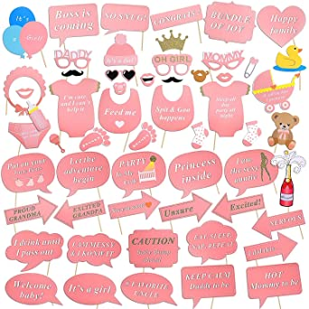 amazon it s a girl baby shower party photo booth kits 57pcs