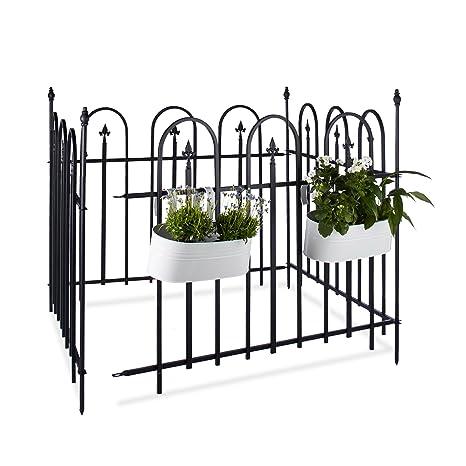 Relaxdays Clôture de Jardin en métal Lot de 4 en Fer forgé Jardin terrasse  Bordure Poteau 4,8 m 90 x 120 cm Anthracite Noir