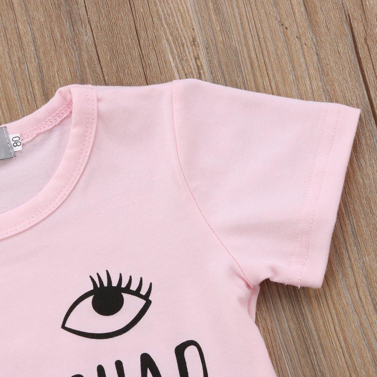 Toddler Baby Girl Summer Cute Wink Eyelash T Shirts Demin Skirt Clothes Set
