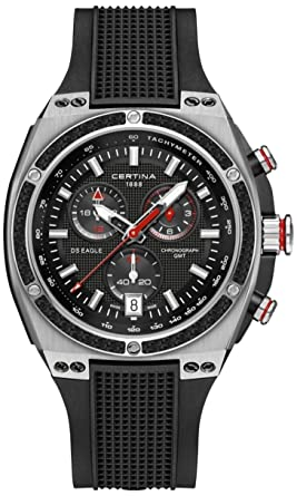 28cdd724b Amazon.com: Certina DS Eagle Chronograph GMT Black Rubber Men's ...