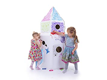 Kideco - Caseta de juguete de cartón (color blanco): Amazon.es: Juguetes y juegos