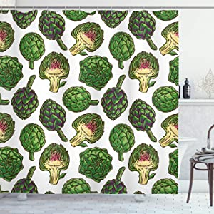 Ambesonne Artichoke Shower Curtain, Hand Drawn Healthy Foods in Various Forms Organic Natural Gourmet Artwork Print, Cloth Fabric Bathroom Decor Set with Hooks, 75
