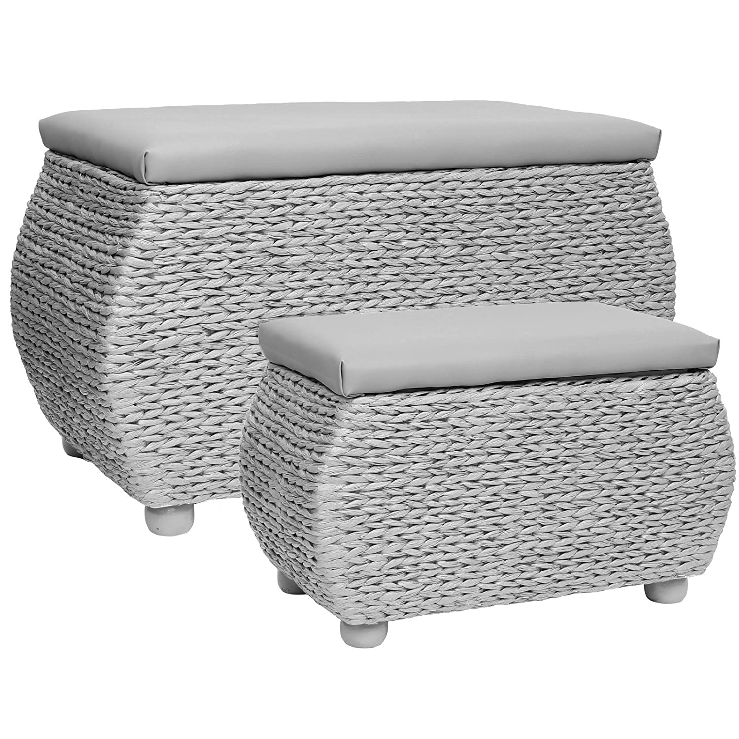 Beautiful Hartleys Grey Woven Storage Trunks - Pair: Amazon.co.uk: Kitchen  GN03