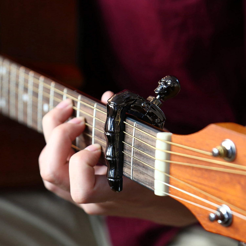 Asmuse Capodastre Universel pour Guitare Electrique Classique Acoustique Capo Unique de Cr/âne en Alliage de Zinc de Haute Qualit/é avec 3 Plectres pour Basse Guitare Folk Banjo Ukul/él/é Mandolin Argent