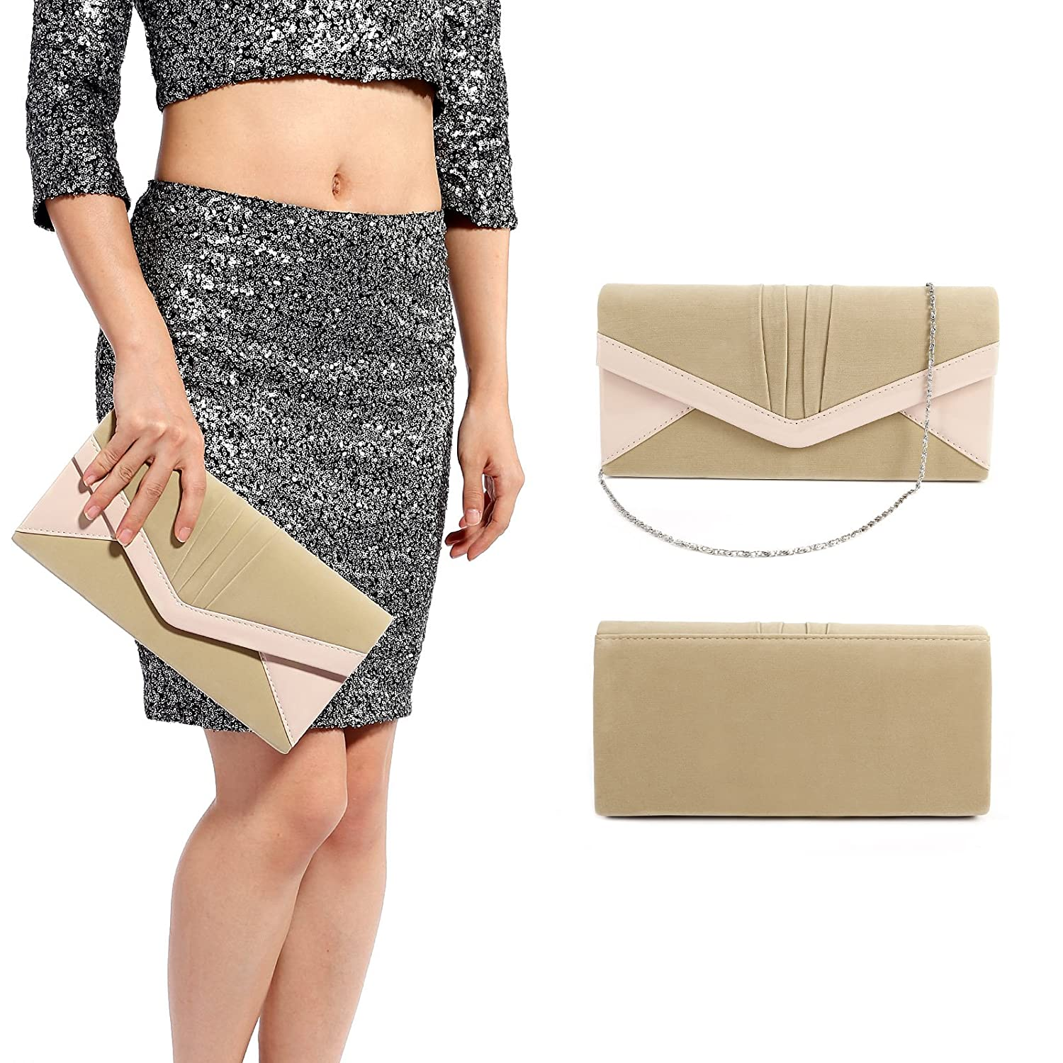 Anladia Contrast Color Faux Leather Trim Velvet Clutch Structured Chain Shoulder Handbag: Handbags: Amazon.com