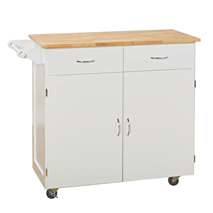 target marketing systems 60046wht kitchen cart large whitenatural - Kitchen Cart Target