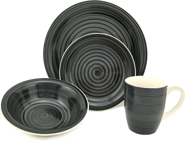 Lorren Home Trends 16-Piece Stoneware Dinnerware Set, Black