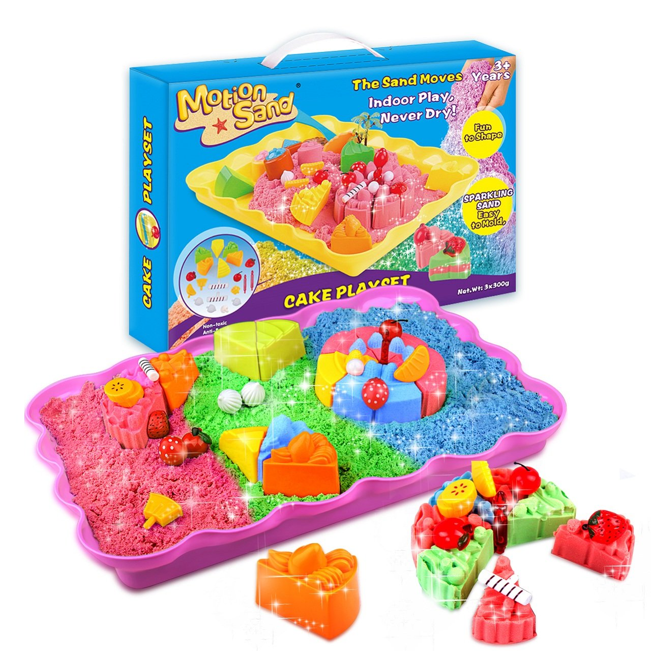 Motion Sand, 2LBS Shimmering Play Sand for Kids (Include 3 Colors), Cake Playset Molds Kit, Magic Play Sand with 20 Pcs Sand Molds and 1 Sand Tray by Motion Sand
