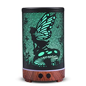 Metal Diffusers for Essential Oils, kobodon150ml Aromatherapy Diffuser Ultrasonic Diffuser Humidifier with 8 Color LED Lights Changing for Home Decor, Office, Room, Gift Idea(Flower Fairy)