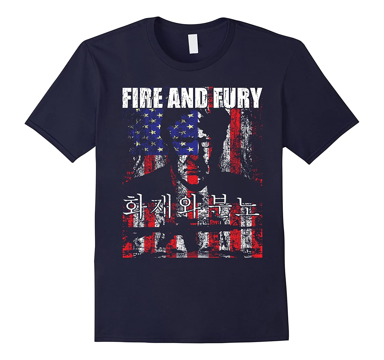 Trump fire and fury t-shirt funny korean english-Art