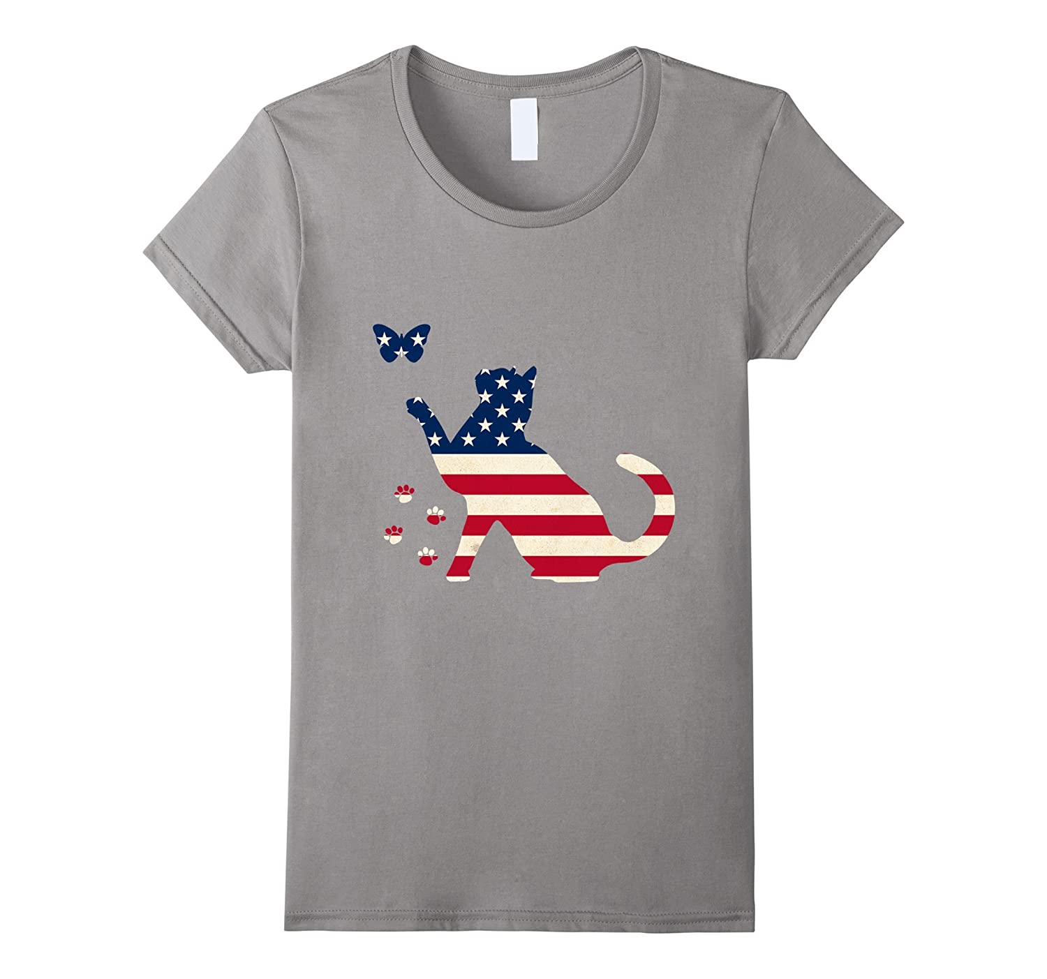 Womens 4th Of July Patriotic Kitty Cat American Flag USA Shirt-Art