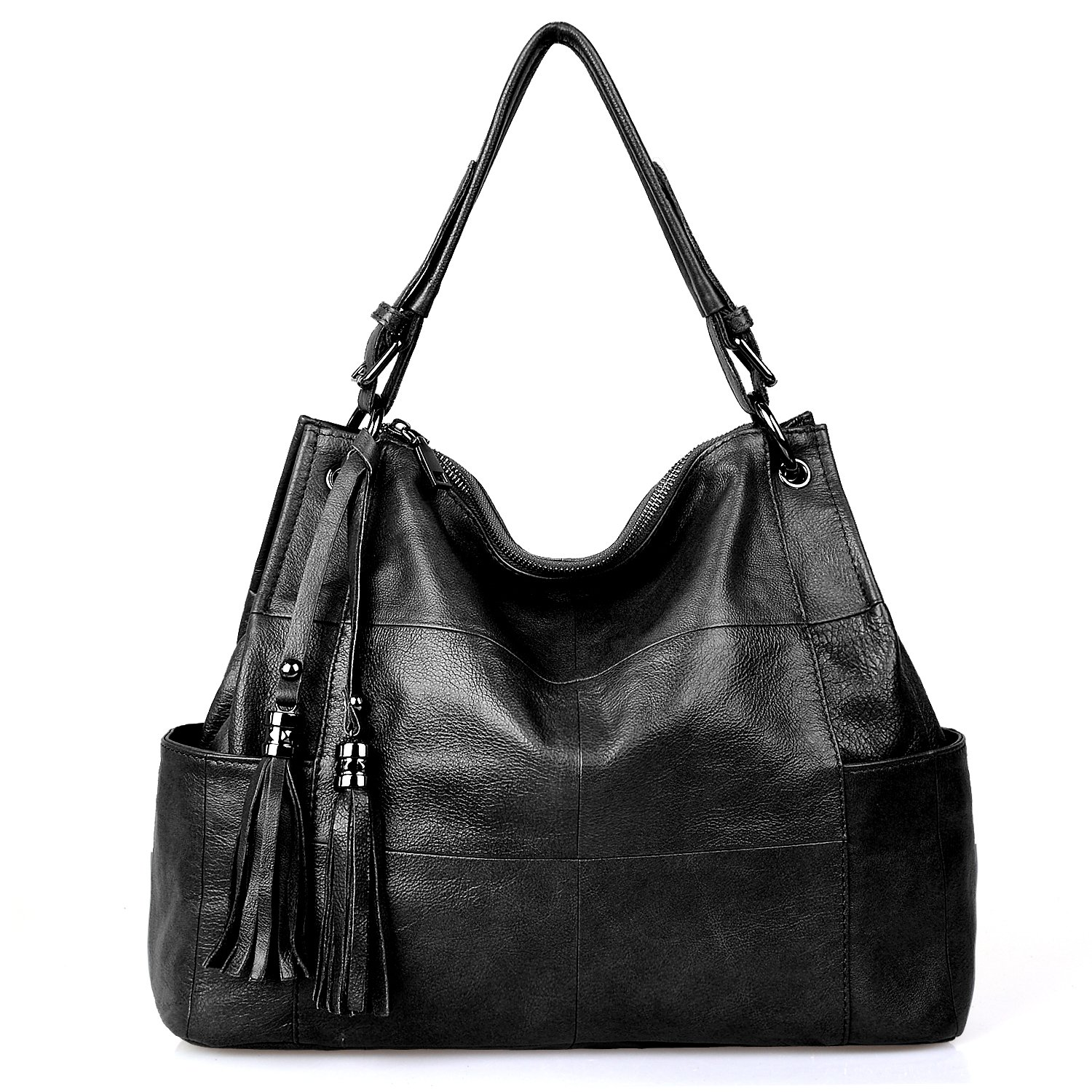 Jack&Chris Leather Hobo Purse Large Tote Shoulder Bag Tassel Satchel Handbags for Women, WB501C, Black