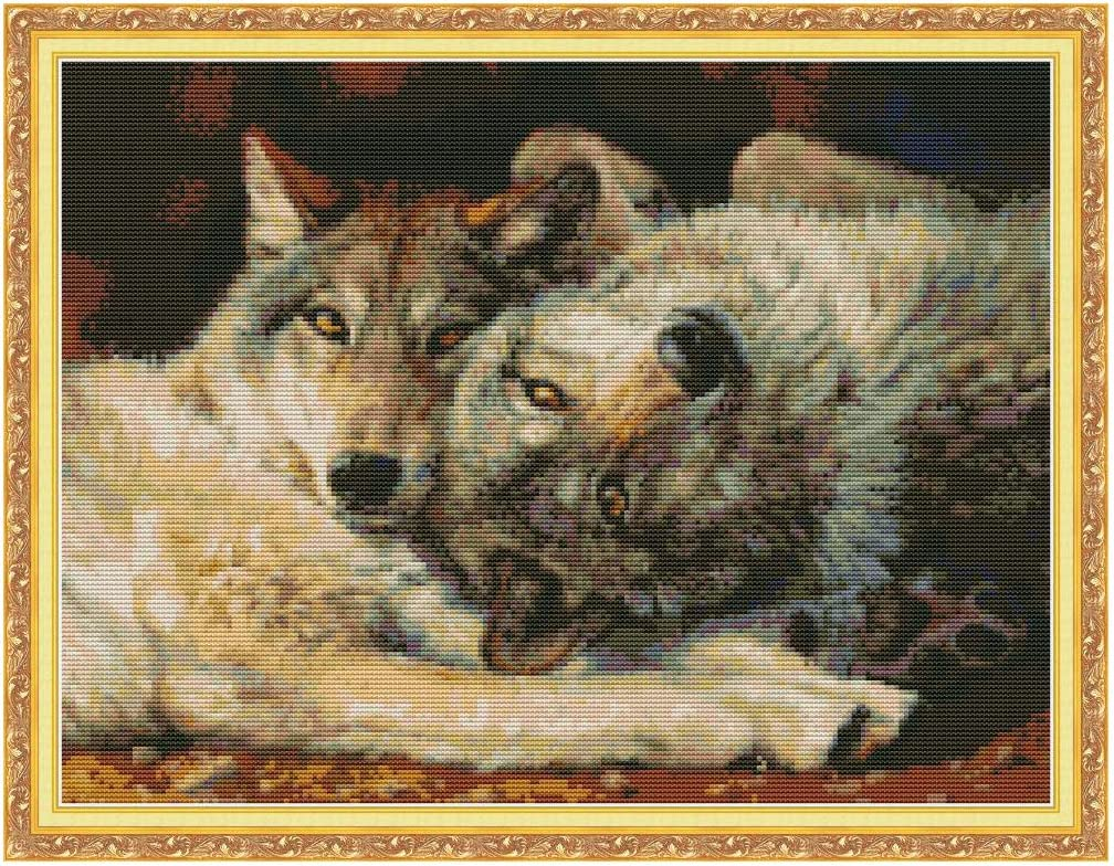 Heimdekoration gez/ählt 14 Karat handgefertigt Kreuzstich-Stickset Wolf