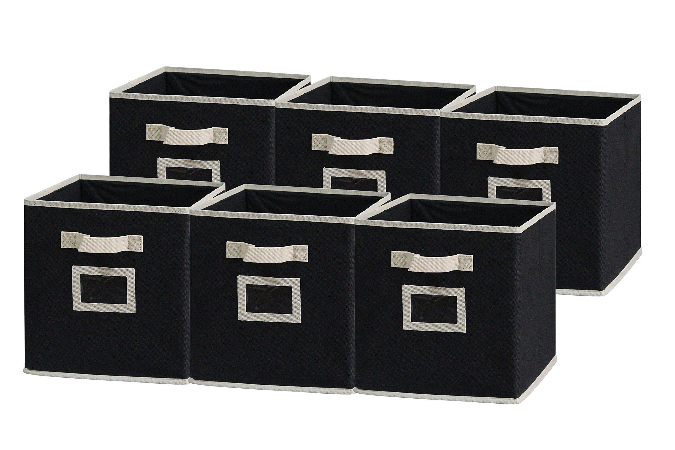 Sodynee Foldable Cloth Storage Cube Basket Bins Organizer Containers Drawers, 6 Pack, Beige/Black by Sodynee