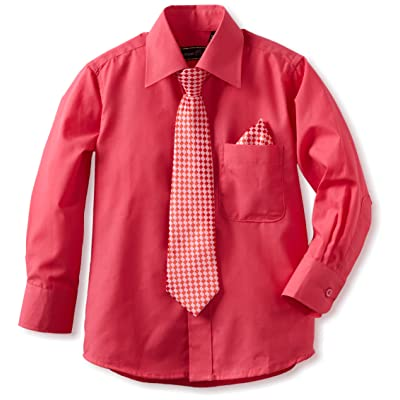 American Exchange Big Boys' Dress Shirt with Tie and Pocket Square, Fushcia