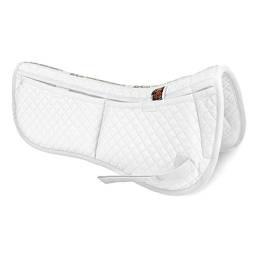 ECP Cotton Correction Half Saddle Pad - Memory Foam Pockets - White
