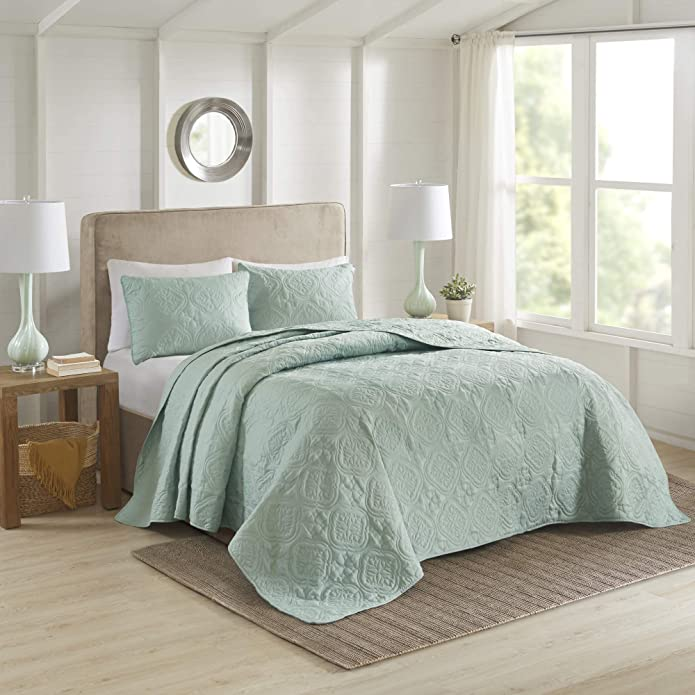 Glen King/California King 3pc Reversible Bedspread Set Seafoam