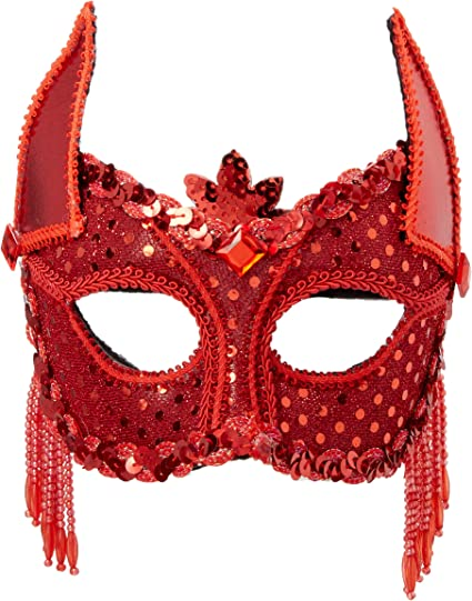 BRAND NEW ADULTS HALLOWEEN SEQUINNED EYE MASK HORNED DEVIL OR SPIDERS WEB