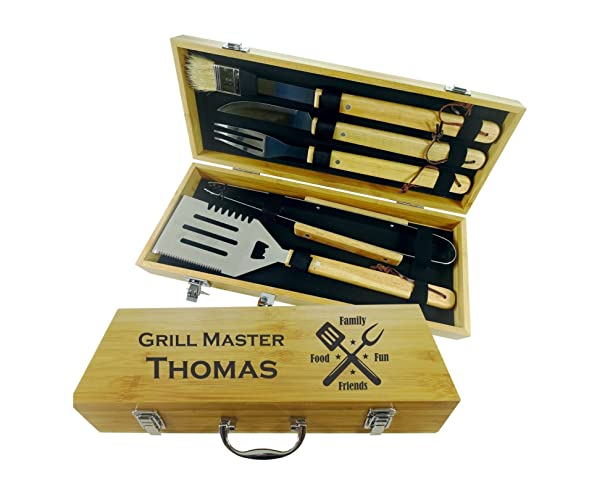 BBQ SET 5 tools Custom engraved personalized grilling set with 5 useful Barbeque grilling tools in natural bamboo case