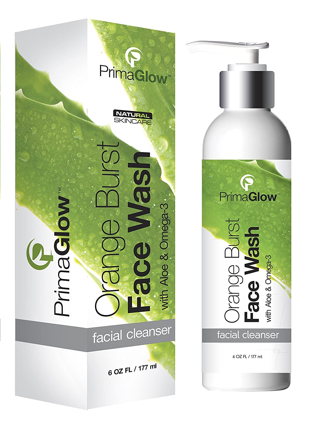 PrimaGlow Orange Burst Face Wash, Anti Aging Facial Cleanser, Organic 6 ounce