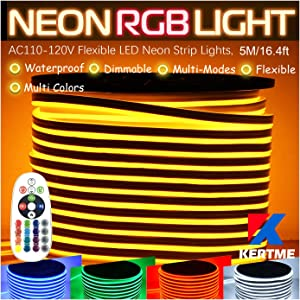 RGB LED Neon Light Strip, AC110-120V/Flexible/Waterproof/Dimmable/Multi-Colors/Multi-Modes Rope Light + 24 Keys Remote for Home/Garden/Building Decor (16.4ft/5m, RGB)