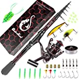 QudraKast Fishing Rod and Reel Combos, Unique Design with X-Warping Painting, Carbon Fiber Telescopic Fishing Rod with Reel C