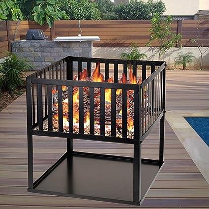 Negro Cuadrada Negro hoguera de calentador de quemador de leña barbacoa jardín Patio camping estufa Chimenea