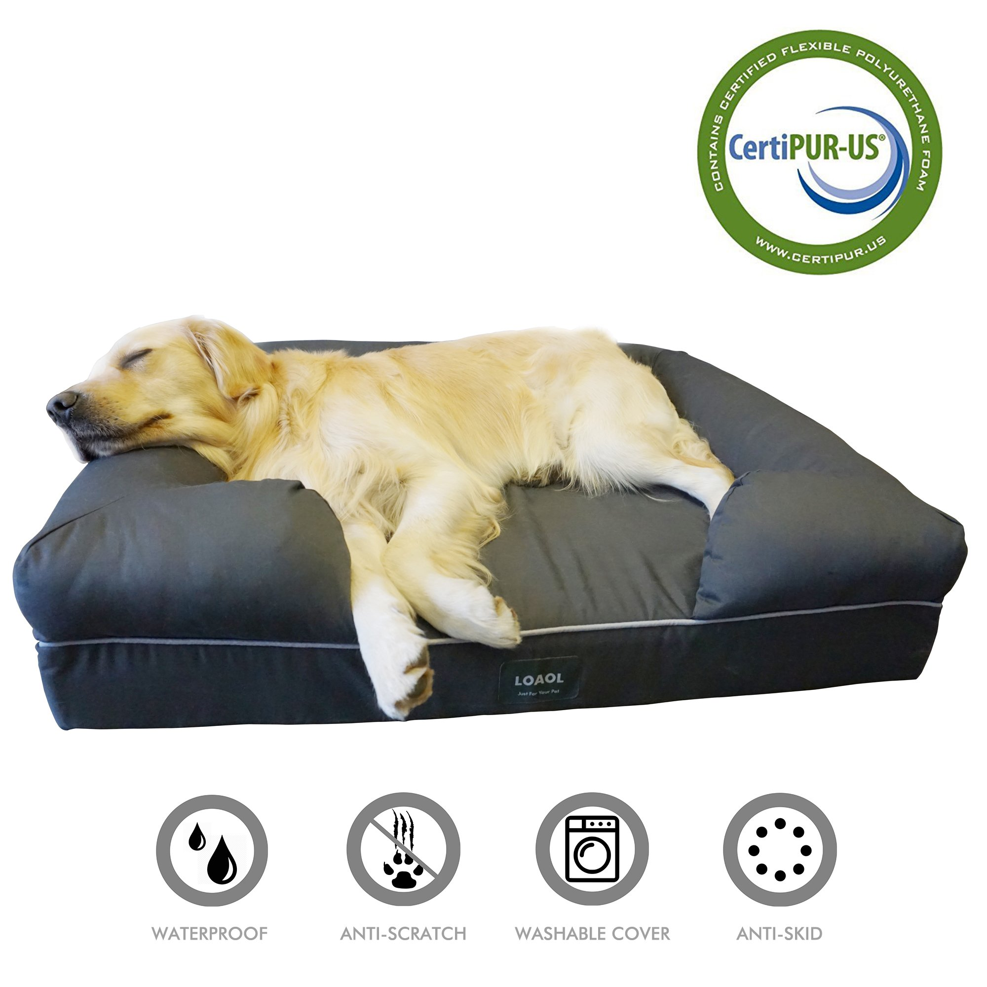 LOAOL Memory Foam Dog Bed Durable Waterproof Pet Sofa Couch with Bolster Orthopedic Cat Lounger Removable Cover (L, Woven Gray) by LOAOL