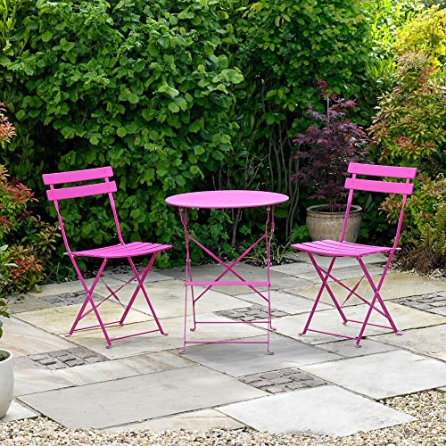 Pink Garden Table And Chair Set: RoyalCraft Padstow Folding Bistro Set