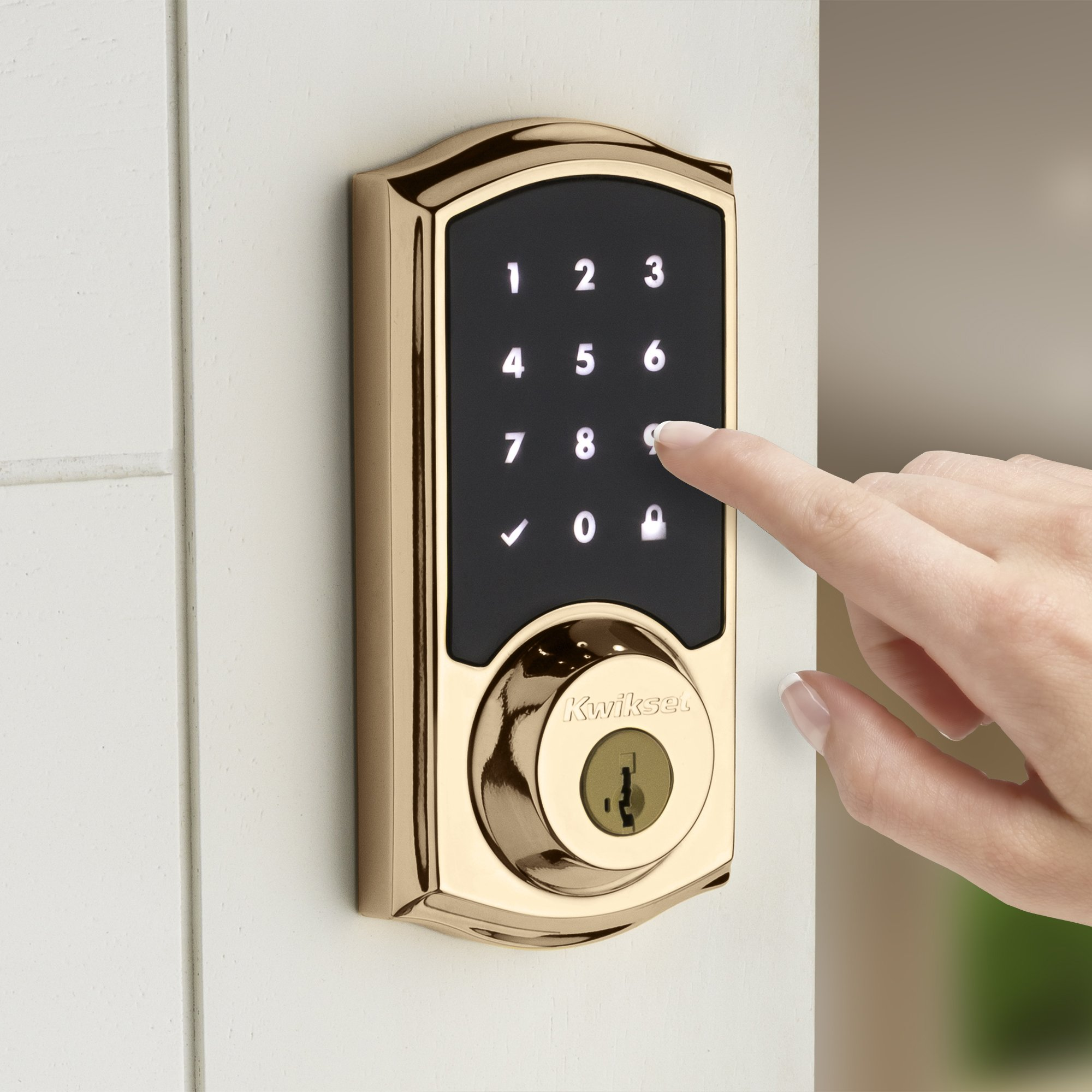 Kwikset 99160-007 SmartCode ZigBee Touchscreen Smart Lock works with Echo Plus & Alexa, featuring SmartKey, Lifetime Polished Brass by Kwikset (Image #5)