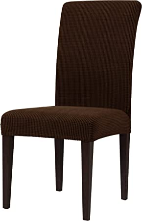 Subrtex Stretch Dining Chair Covers Spandex Dining Room Chair Cover Machine Washable Removable High Back Chair Protector For Kitchen Set Of 4 Dark Brown Amazon Co Uk Kitchen Home