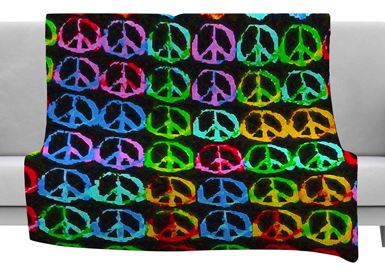 80 x 60 Fleece Blanket Kess InHouse Anne Labrie Give Peace A Chance Green Pop Art Throw