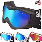RayZor Ski Snowboarding Goggles | Anti Fog, UV400 Protection, Ventilated Skiing and Snowboard Goggles | Comfortable, Shatterproof For Skis, Snowmobiles and Snowboards | Anti Glare Vented Snow Eyewear