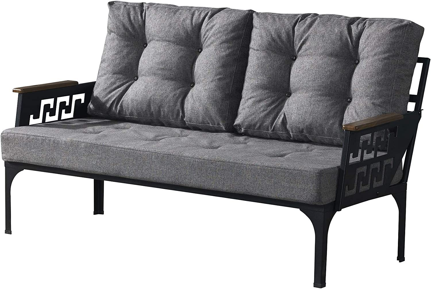 Line Patio Love Seat Outdoor Indoor Use Garden Balcony Poolside Lawn Backyard Metal Furniture Sectional Corner Sofa Modern Bistro Bench Seat (Anthracite) : Garden & Outdoor