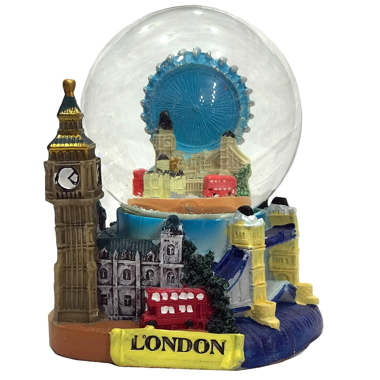 Famoso Londra Snow Globe Snow Storm con tutti Londra famoso icone di Londra souvenir 3D Medium de luxe collage Snow Globe dettagli Londra Big Ben, il Tower Bridge etc London Eye con skyline, souvenir da collezione by Snow Globes by Souvenirz